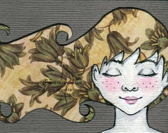Wendy - Original ACEO illustration - Miniature art card - Mixed media original girl with flower hair