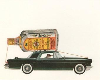 Peewee Draper embarks on a lost weekend.  Original collage by Vivienne Strauss.