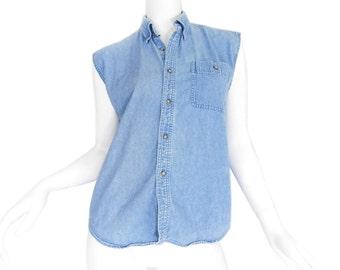 XS / S 90s Sleeveless Denim Button Up Shirt - Vintage Unisex Stone Wash Chambray Top