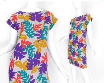 SALE Sz XS 80s Tropical Print Linen Shift Dress - Womens Asymmetrical Kimono Sleeve Knee Length Red Purple Yellow Teal Dress Size 2 4 Extra