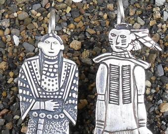Sterling Earrings San Felipe Pueblo Native American Navaho Silversmith Frank Salcido Vintage Very Detailed