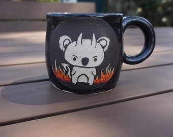Evil Koala Handthrown sgrafitto Coffee Mug