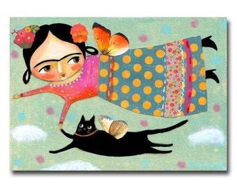 ORIGINAL mixed media collage black CAT angel folk art painting Frida Kahlo flying angel acrylic painting by Tascha