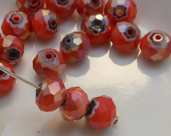 Crystal Beads Faceted Rondelles Orange White Black Millefiori AB Abacus 8x6mm  (Qty 8) MW-8x6R-OWBAB