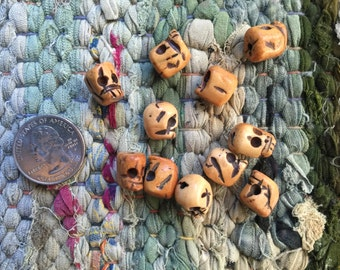 10 Antiqued and Hand-Carved Yak Bone Skull Beads 10x12mm with 3mm Hole