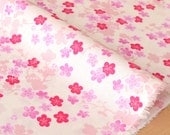 Japanese fabric wagara little Ume blossoms cotton crepe - pink, cream - 50cm