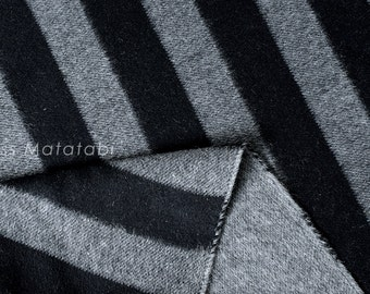 Japanese Fabric Double-Faced Yarn Dyed Wool - large stripes - black, grey - 50cm