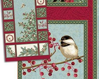 "One Fabric Quilt Panel, ""Chickadees and Berries"" by Jackie Robinson of Animas Quilts, Benartex, Sewing-Quilting-Craft Supplies"