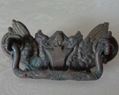 Vintage Ornate Cast Brass Griffin Phoenix Drawer Handle Pull Salvage Repurpose
