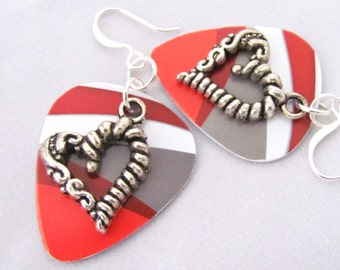 Heart Earrings Red Earrings White Earrings Guitar Pick Earrings Valentine's Day Pewter Hearts Gift Ideas for Girlfriend Gift Idea for Wife