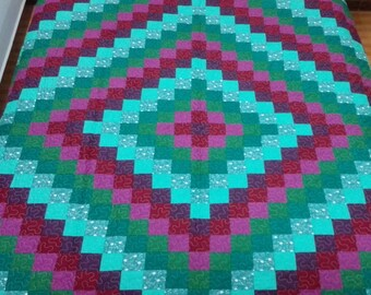 King size Machine quilted Around the world  Patchwork complete   Quilt J-52