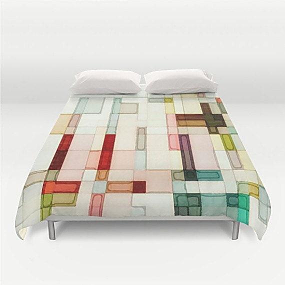 Rosa Bettbezug geometrische Bettwäsche Duvet von TinaCarroll
