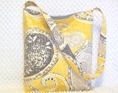 Paisley Hobo Bag Purse - Floral Yellow and Gray Paisley Shoulder Bag - Paisley Fabric Bag - Handmade Paisley Handbag Purse - Gift for Her