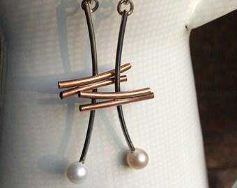 Sterling and Copper Earrings, Mixed Metal Earrings, Freshwater Pearl Earrings, Metalwork Earrings, Dangle Earrings, Drop Earrings, Etsy