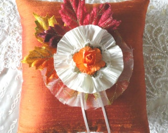 Fall, 2016 Golden Leaves of Fall Ring Pillow-Fall Wedding- Rustic Wedding-Autumn Wedding-Ring Bearer-