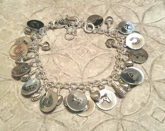 Horse Pony silver hand stamped  gypsy charm bracelet and it's adjustable too!