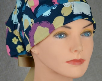 SMALL Surgical Scrub Cap or Cancer Hat -Perfect Fit Tie Back with Ribbon Ties - Full Bloom