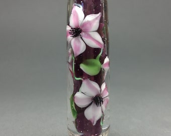 Clematis Encased Floral Glass Bead....Handmade by Highland Beads