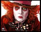 "Print 8x10"" - Mad Hatter - Johnny Depp Alice in Wonderland 2 Red Queen Fantasy Magic Mushroom Pop Lowbrow Through The Looking Glass Dark Art"