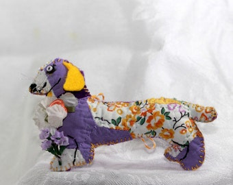 Royal Purple Sunny Yellow Calico Dachshund Quilty Critter - OOAK, Novelty, Folk Art, Ornament, Gift