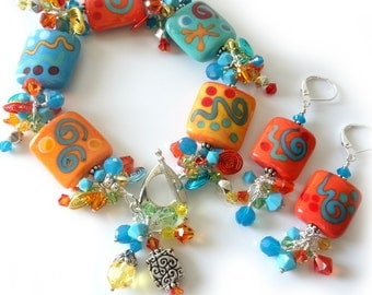 Lampwork Bracelet and Earrings, Two Piece Set, Bright Colors, Island Tropical, Orange, Turquoise, Green, Yellow, Silver Beaded Jewelry, OOAK