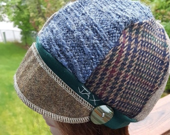 Small medium Jax Hats, Brown blue and green hat, upcycled hat, recycled clothing hat, chemo hat, newsboy cap, flapper, blue sweater hat