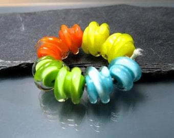 Handmade Lampwork Earring Bead Pairs by GlassBeadArt  ... SRA F12 ... 10x11mm