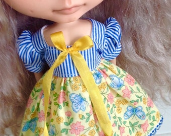 Dress for Blythe - Blue Stripes and Yellow Floral