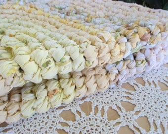 Large Rag Rug - Large Yellow Rag Rug - Handmade Rag Rug - Recycled Fabrics Rag Rug - Oval Rag Rug - Yellow Oval Rag Rug - ThankfulRose Home
