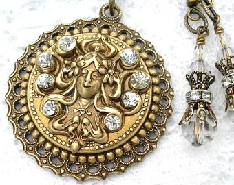 Crystal Goddess Antiqued Brass Ox Pendant and Earring Set