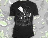 Happy Halloween Haunted House Black Tee Shirt LIMITED TIME SALE!!!