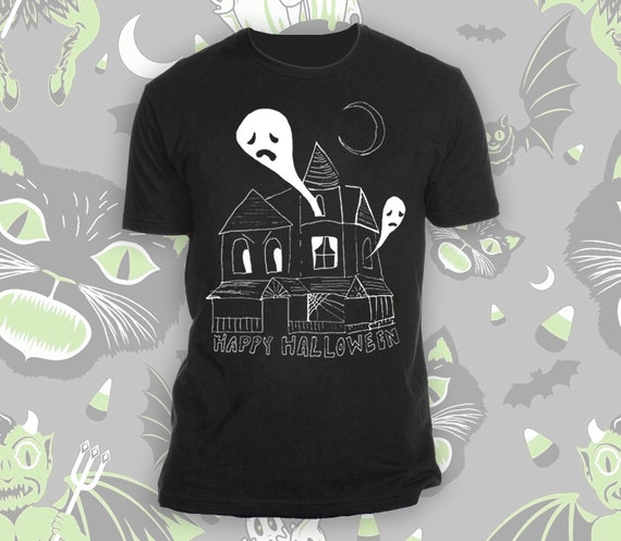 Happy Halloween Haunted House Black Tee Shirt