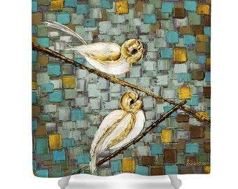 Birds Shower Curtain Art Designer abstract white love birds on a branch, modern blue brown bathroom home decor by Susanna
