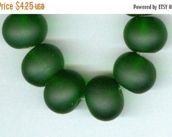 CLEARANCE 14x11mm Dark Green Sea Glass Rondelle Beads Half Strand