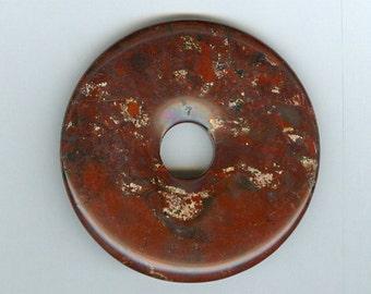 50mm Shades of Red Poppy Jasper Gemstone PI Donut Focal Pendant Bead 0101