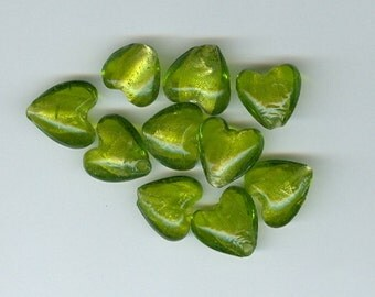 11mm Small Green Heart Beads 0121