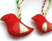 CLEARANCE pair of handmade patchwork bird ornaments, holiday decor, red felt cardinals, set of 2