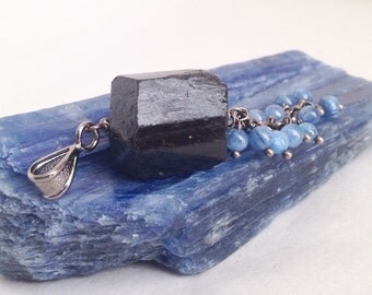 Blue Kyanite and Black Tourmaline Pendant Chain Necklace - Sexy Beast
