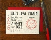 letterpress customizable birthday train ticket greeting card happy birthday pink black red