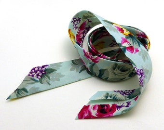 Pretty Mint Floral Bias Tape Made in France 1 inch wide