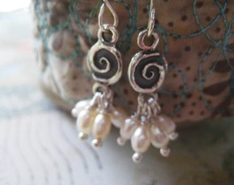 Pearl Earrings, Artisan Sterling, Pearl Clusters, Sterling Silver, Wire Wrapped, Rice Pearls, Genuine Pearls, candies64, Womens Jewelry
