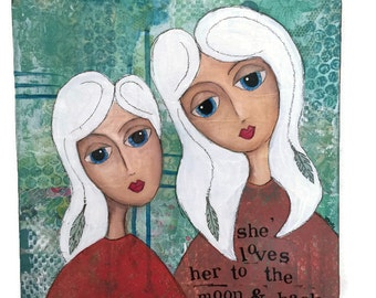OOAK, Original Mixed Media, Gallery Canvas, Mixed Media Collage Art, inspiring art, she loves her to the moon and back, daughter art