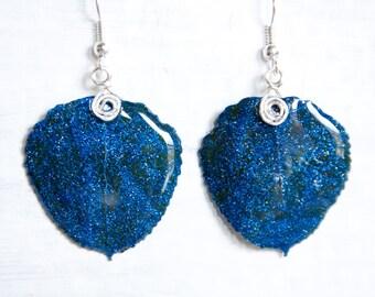 Aspen Leaf Earrings, Blue Glitter Earrings, Bridesmaid Jewelry