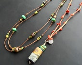 """Handmade glass necklace by Lori Lochner """"Coral and amber Om Layering necklace"""" Lampwork glass, silver, turquoise sea glass necklace"""