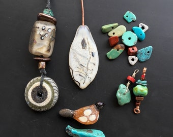 Artisan handmade glass bead designer lot lampwork by Lori Lochner woodsy bundle charm talisman jewelry textile design supply