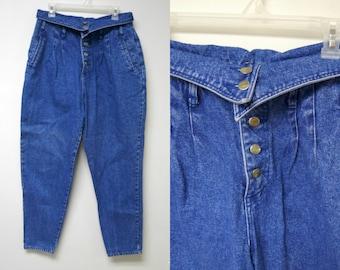 Steffano . 80s fold over blue denim high waist jeans . size 16