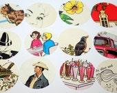 2 Inch Circle Die Cut Vintage Childrens Book Pages Round Tags Ephemera