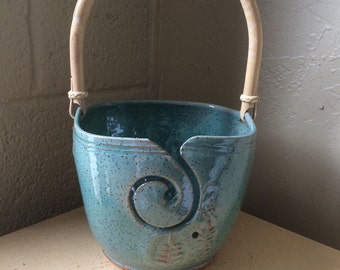 Blue Yarn Bowl with handle,  Knitting bowl, Handmade ceramic pottery