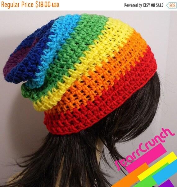 Sale 40% Off Slouchy Beanie Crochet Hat in Chakra Rainbow Stripes