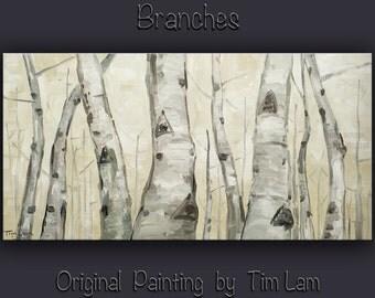 Balck and white art, Original acrylic painting, Tree art, modern art, wall art, stretched canvas art, aspen painting by tim Lam 48x24